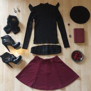 Forever 21 cranberry red skater circle miniskirt